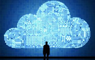 Man Staring at large cloud