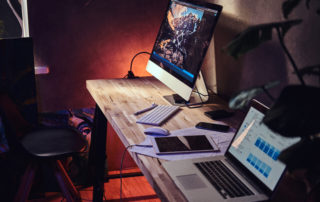 table with laptops